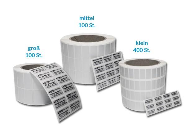 Produktetiketten Set 400/100/100